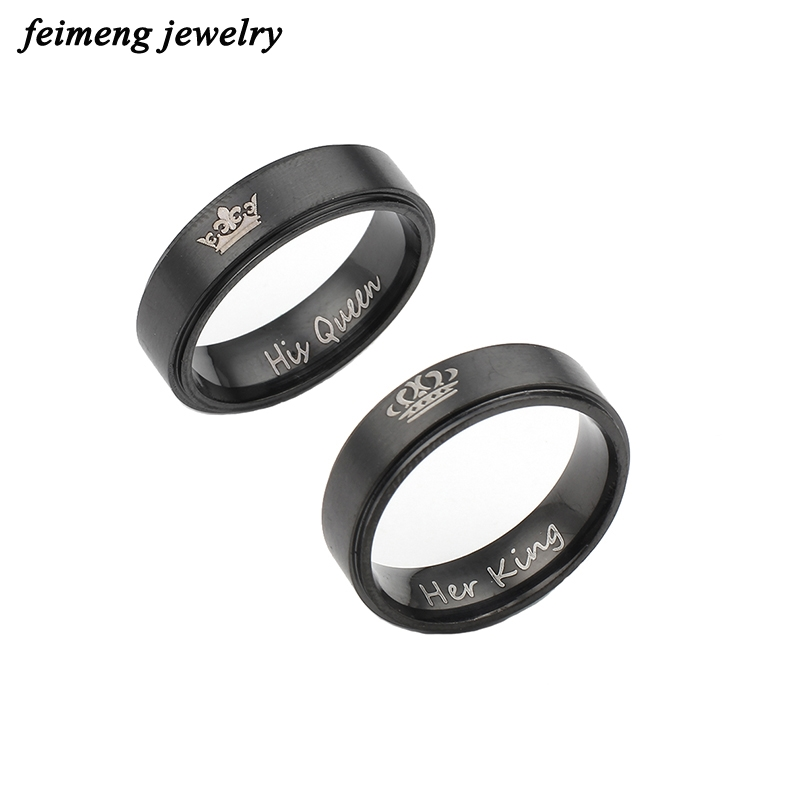 Новая мода его Queen и ее король корона кольцо черный и серебристый Цвет Свадебные Кольца для Для женщин Обручение Promise Ring интимные аксессуары