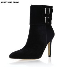 Autumn Buckle Ankle Boots Women High Heel Fashion Black Pointed Toe Ladies Shoes Women Boots Red Bottom High Heels