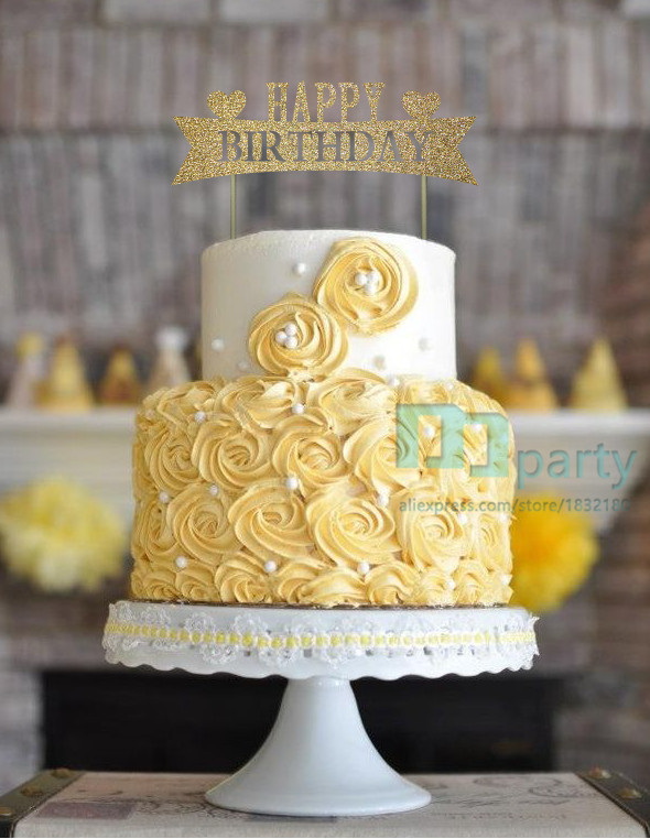Glitter Gold Happy Birthday Cake Toppers Happy Birthday