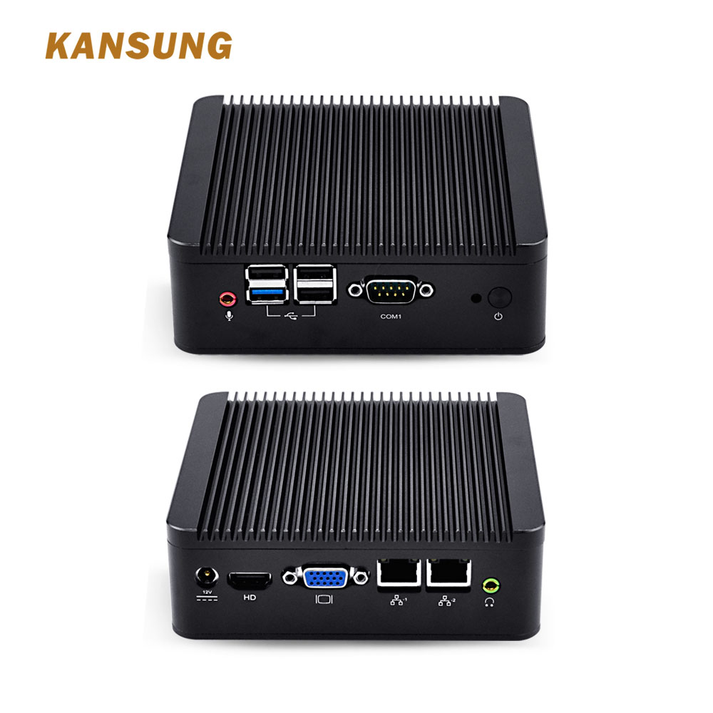 KANSUNG Intel Celeron J1900 Quad Core Fanless Mini Pc Dual Gigabit Support Windows 10 Linux Bareone X86 HTPC Mini Desktop PC