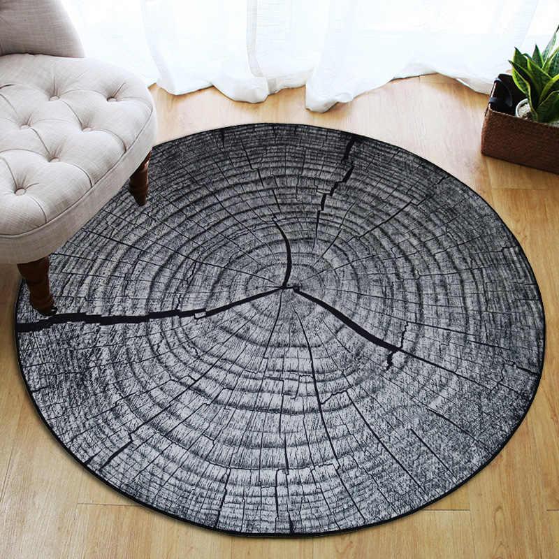3D сухое дерево зерно кольцо сектиома Круглый Большой ковер для гостиной Детская комната нескользящий стул стол пол ковер tapetes para casa