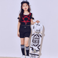 New Children's Jazz Modern Dance Costumes Girls Hip-hop Korean Jazz Performance Five-pointed Star Vest Suit