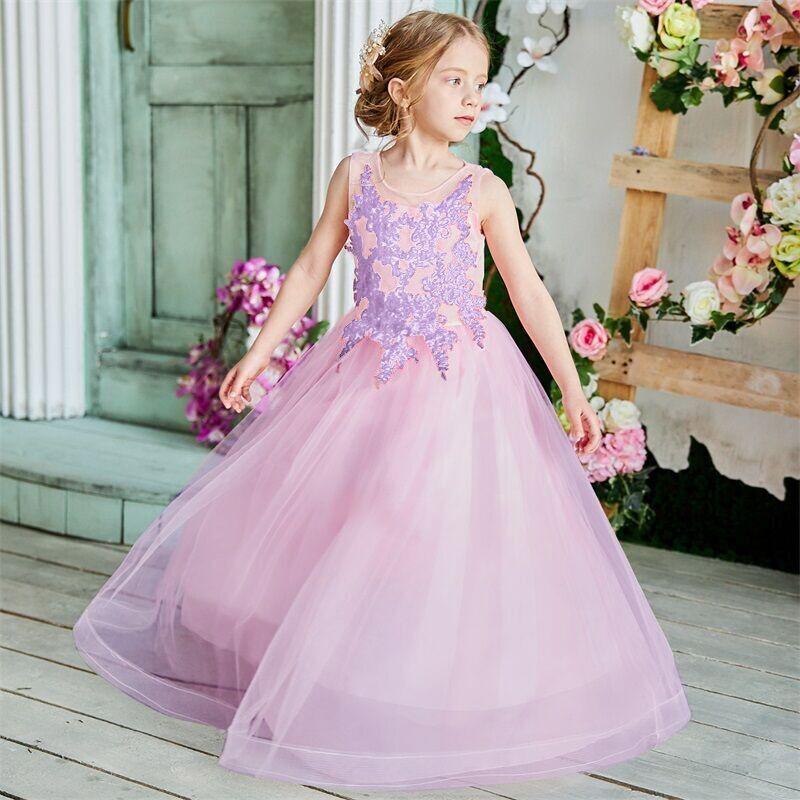 Girls Formal Dress 2019 Teenager Girls Appliques Long Gown Children Girls First Communion Clothing Flower Girls Wedding Dresses