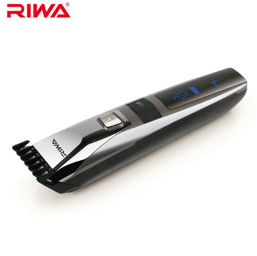 ФОТО Riwa K3 Waterproof Rechargeable Hair Trimmer LCD Display Men's Cool Hair Trimmer Black One Piece Attached Comb Design Trimmers
