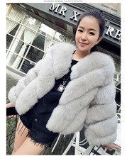 Short Natural Genuine Fox Fur Overcoat , Winter Warm Real Fur Coat For Women Real Fur Jacket Striped Style Plus Size