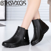 BTKSYXGS 2017 Women S Wool Snow Boots 100 Genuine Leather Fashion Comfortable Non Slip Winter Women