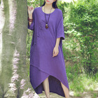Solid Purple Red Blue Cotton Linen Women Dress Plus size Loose Casual Summer Midi Dress Vintage Novelty Original Vestidos C114