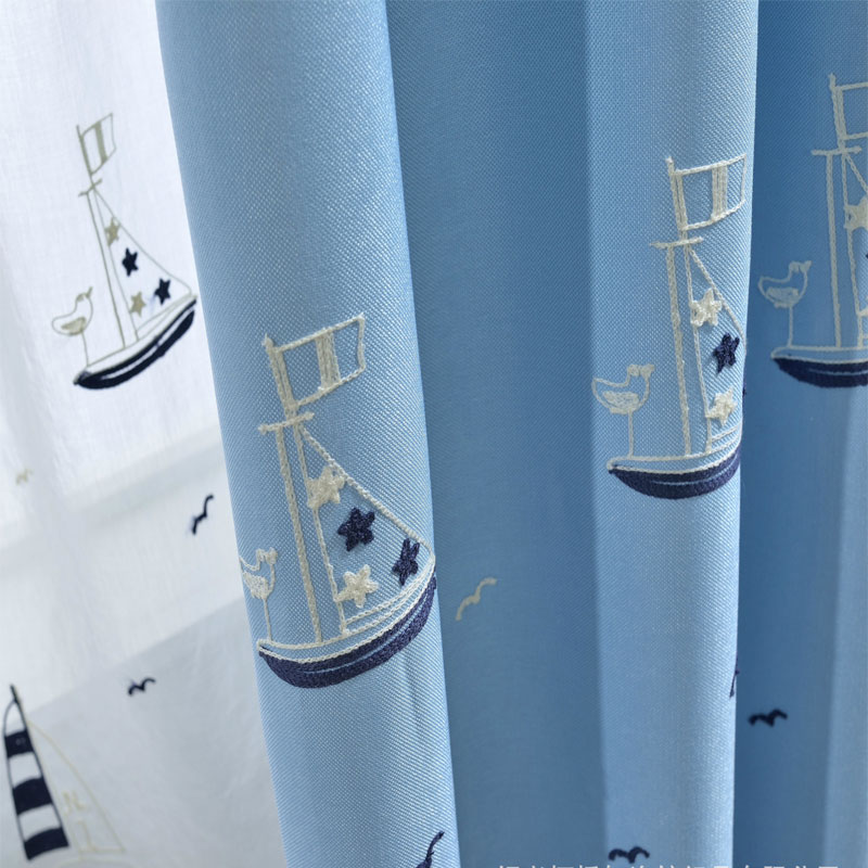 Cartoon Linen Cotton Boy Bedroom Curtains Embroidery: Mediterranean Cotton Linen Embroidery Cartoon Sailboat