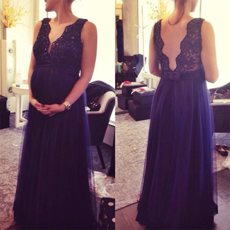 US $125.33 17% OFF 2017 Plus Size Maternity Women Evening Dress Navy Blue  Lace Tulle Long Prom Dresses Custom Made Open Back Pregnant Party Gowns-in  ...