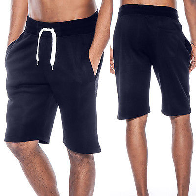 Mens Summer Casual Tech Fleece Shorts Baggy Jogger Sweat Beach Solid