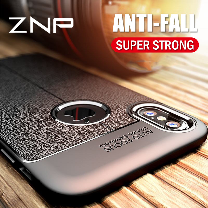ZNP Luxury Silicone Shockproof Case For iPhone 7 6 8 Plus X 6s 7 Soft Litchi Leather Pattern Cover Cases For iPhone X 6 7 8 Case