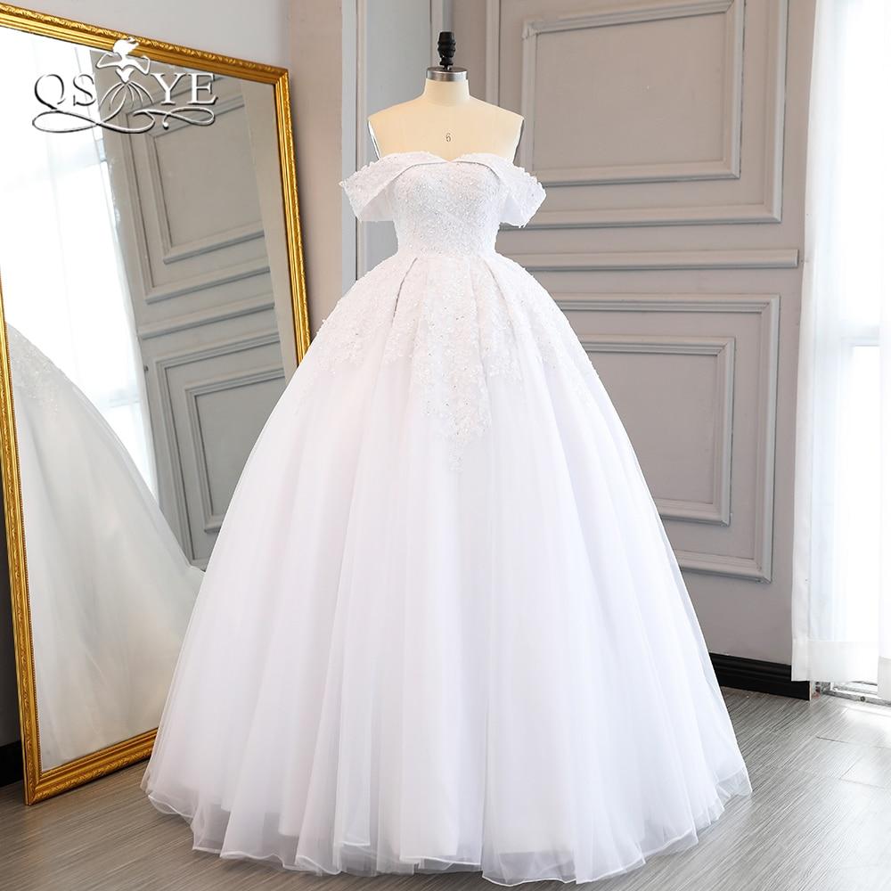 QSYYE Tắt Shoulder Wedding Dresses 2018 Sweetheart Ren Đính Cườm Đính Sweep Train Tulle Bridal Dress Wedding Gown Tùy Chỉnh