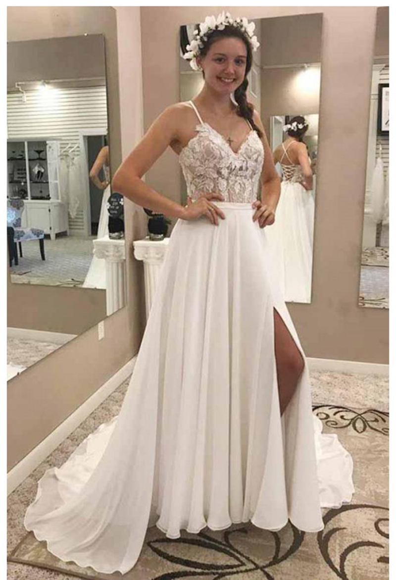 LORIE Mermaid Wedding Dresses Lace Appliques Spaghetti Straps  Bride Dress Backless Sexy Side Split White Ivory Wedding Gown