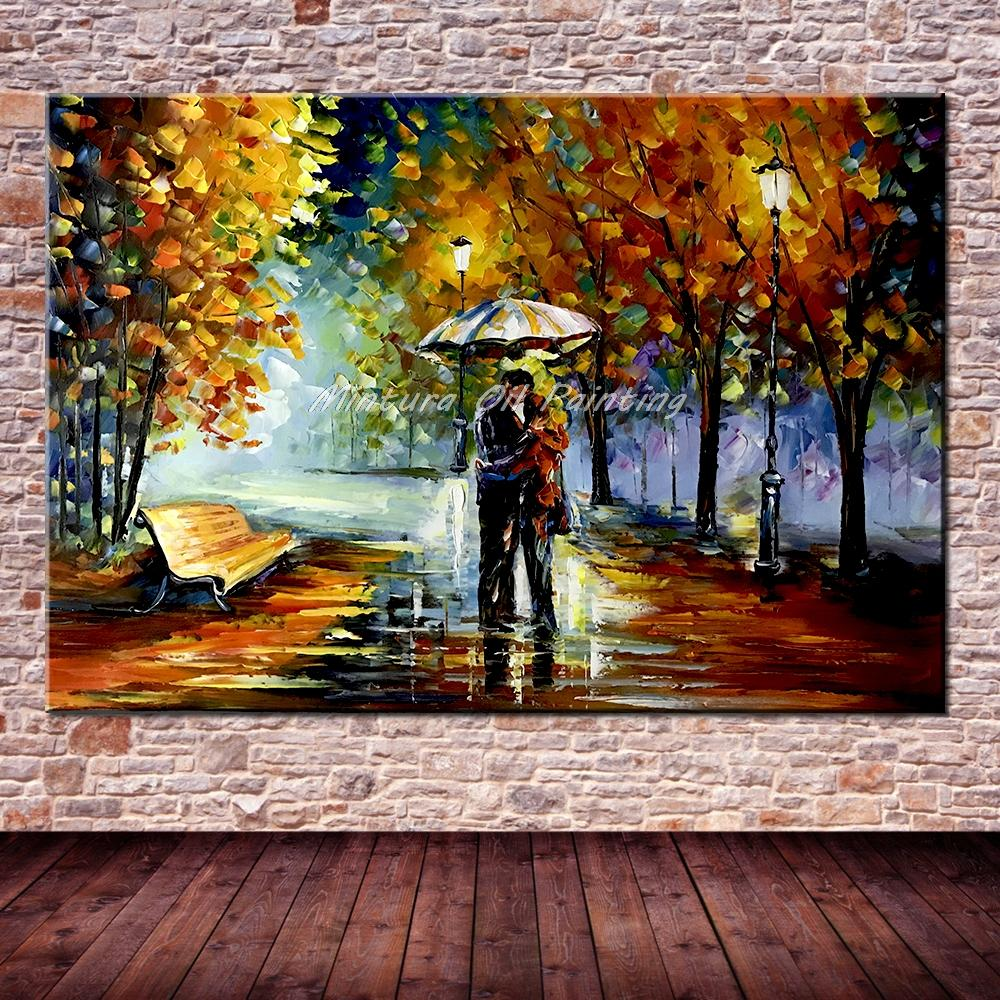 Большой расписанный вручную любовник дождь уличное дерево лампа пейзаж картина маслом на холсте настенные художественные настенные картины для гостиной домашний декор - Цвет: HY142133