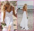 Stunning Vintage Boho White Beach Wedding Dresses Chiffon Dreamy Spaghtti Straps Backless Front Slit Lace Bridal Gowns