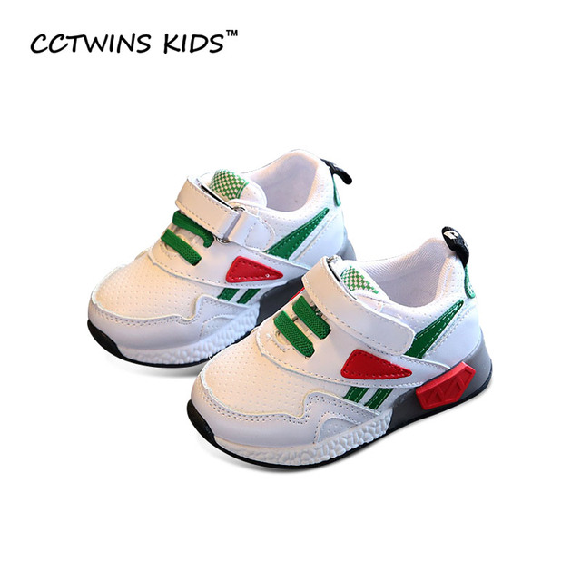 CCTWINS KIDS 2017 Spring Autumn Child Sport Trainer Baby Boy Fashion Pu Leather Shoe Girl Brand Led Light Toddler Sneaker  F1298