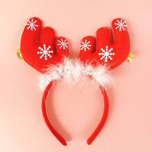 Hot 1pc Cute Deer Horns Shape with Small Bell Children Adult Christmas Head Hoop Decoration X-mas Hair Band Gift 2018