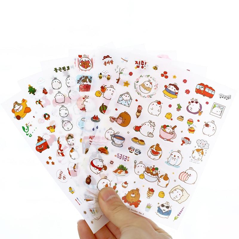 6 Pcs/Set Novelty Korea Style Pvc Creative Kawaii Cartoon Potato Rabbit Series In The Third Quarter Toy Stickers