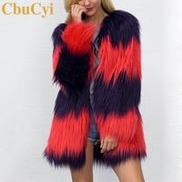 CbuCyi Winter Coats Women Long Faux Fur Coat V neck Casual Female Patchwork Fur Jackets Overcoats Plus Size S 3XL 2 Colors