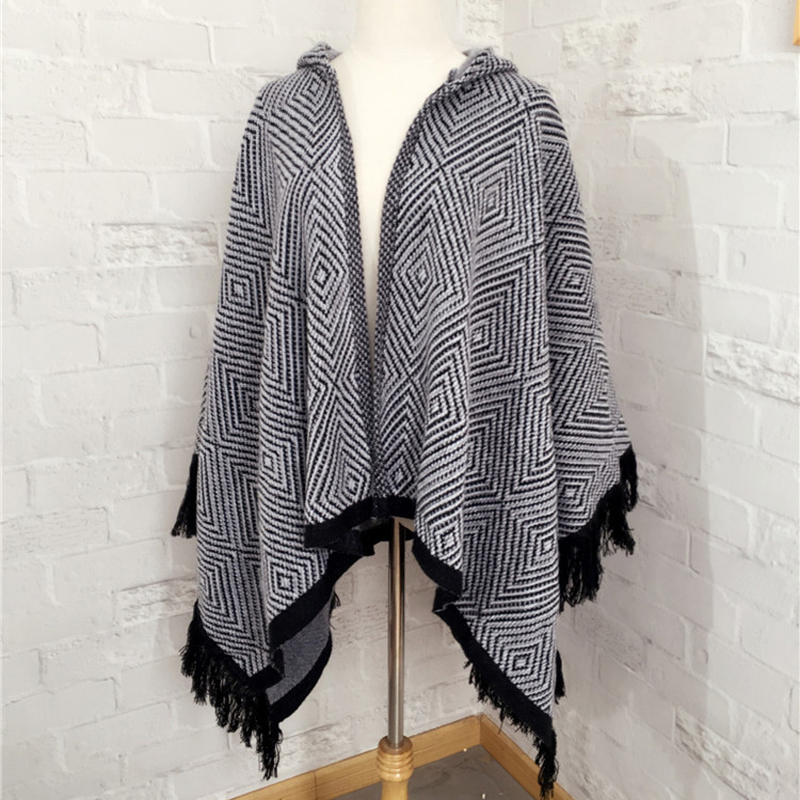 Winter Women Geometry Hooded Poncho Knitted Cardigan Cloak Cape Coat
