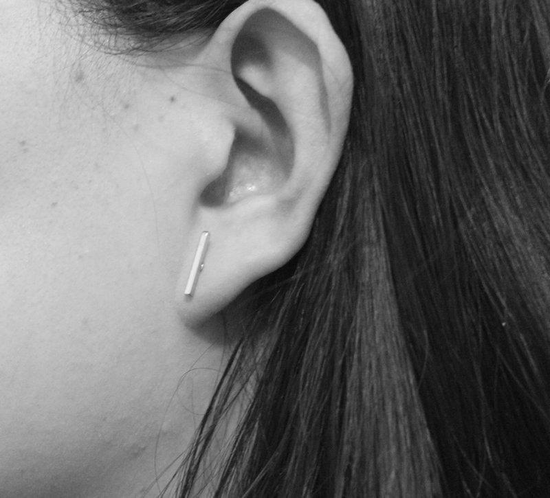 e982cbeb3bbe6 Lvytide Line tiny T stud earrings Slim staple earring T bar earring Women  minimalist jewelry Minimal jewelry Small gifts