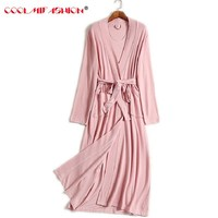 Women Robe Long Sleeve Solid Loose V Neck Self Belt Bathrobe Night Sexy Robes Night Grow Kimono Robe femme Women's Sleep & Loung