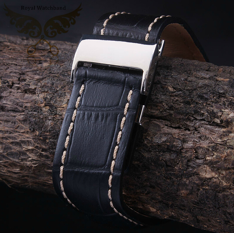 New Black Watch Band 22mm 24mm Alligator Pattern Genuine Leather Watch Strap Silver Polished Depolyment Clasp
