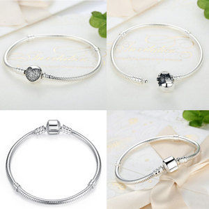 Image 2 - Authentic 100% 925 Sterling Silver Basic Snake Chain Bracelet & Bangles Fashion Jewelry WEUS902