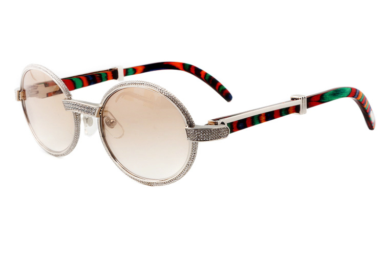 Cartier 55-22 Full Diamond Peacock Wood Silver Frame Brown Round Lens (1)