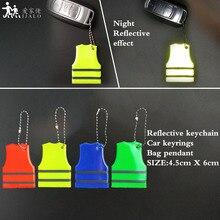 Желтый жилет брелоки мягкий ПВХ отражающий брелок подвесные аксессуары для сумок для дорожного движения visiblity Безопасность использования