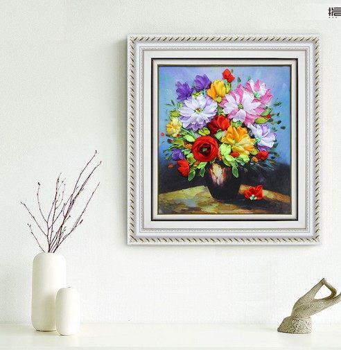 Online Shop 3d Flower Vase Silk Ribbon Embroidery Kit Yellow Daisy