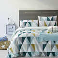 Cotton Nordic Style Bedding Set  3pcs Quilt Cover Blue And White Geometric Duvet Cover Queen Pillow Case