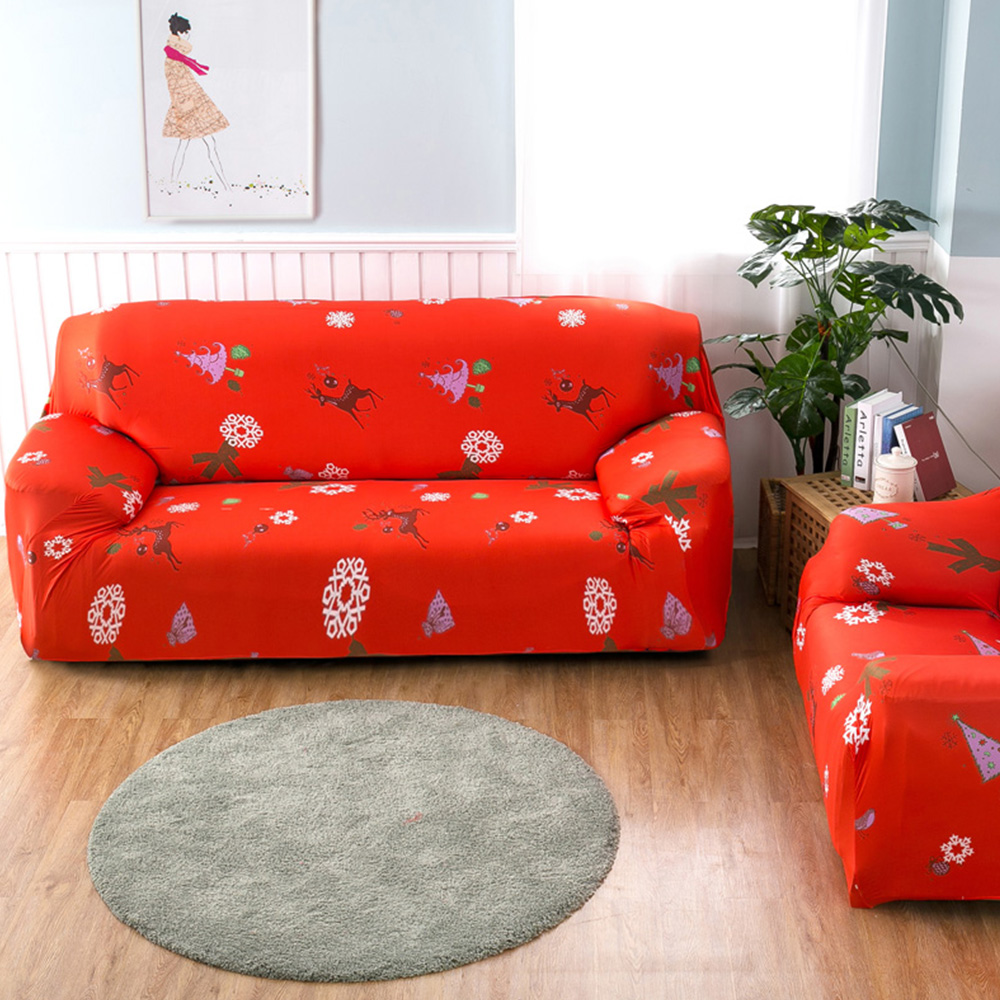 Yazi Merry Christmas Deer Stretch Sofa Cover For 1 2 3 4 Seater Couch  Single Double Seat Slipcover Chair Furniture Protector In Sofa Cover From  Home ...