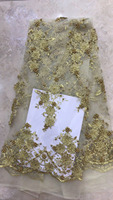 3d flower Nigerian Tulle French Lace Fabric With Stones Beaded 2019 High Quality African Bridal Lace Fabric For Wedding Dress