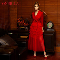 ONERILA 2018 Autumn Formal Patchwork Lace Red Dress Ruffles V Neck Long Sleeve Simulation Pearl Slim Women Party Long Dresses