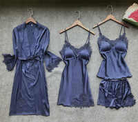 Sexy Women's Robe & Gown Sets Lace Bathrobe + Night Dress 4 Four Pieces Sleepwear Womens Sleep Set Faux Silk Robe Femme Lingerie