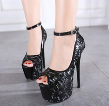 New fashion sequins spell color word buckle 16cm high with fine metal fish head with waterproof shoes