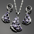 Lan  AAA Zircon Purple Amethyst White Topaz  Necklace Pendant Earring For Wedding/Birthday/Party Free Jewelry Box