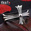 Beier 925 silver sterling Top layer leather bracelet for men Chrome Hearts Fine Jewelry B925R026