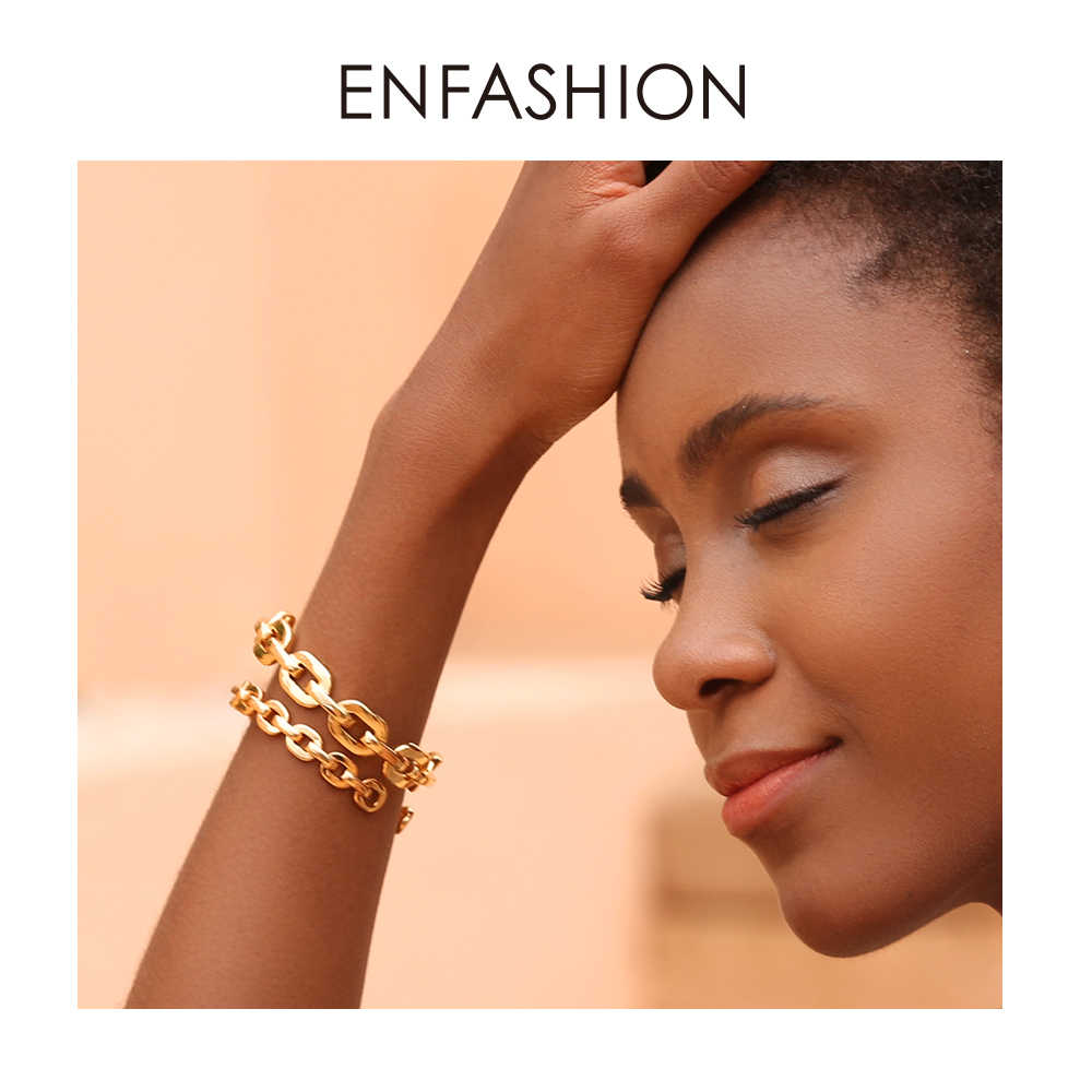 Enfashion Pure Form Small Link Chain Cuff Bracelets Gold Color Brass Bangles For Women Accessories Jewelry Bijoux BF182032