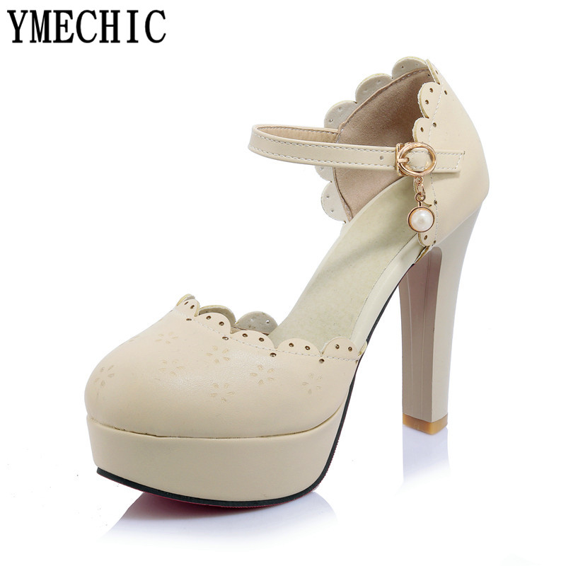 YMECHIC Sweet Ladies Shoes Size 43 Ruffles Hollow High Heel Pumps Woman  Platform Party Heel Shoes Plus Size Womens Shoes Summer-in Women s Pumps  from Shoes ... e52a723093dd