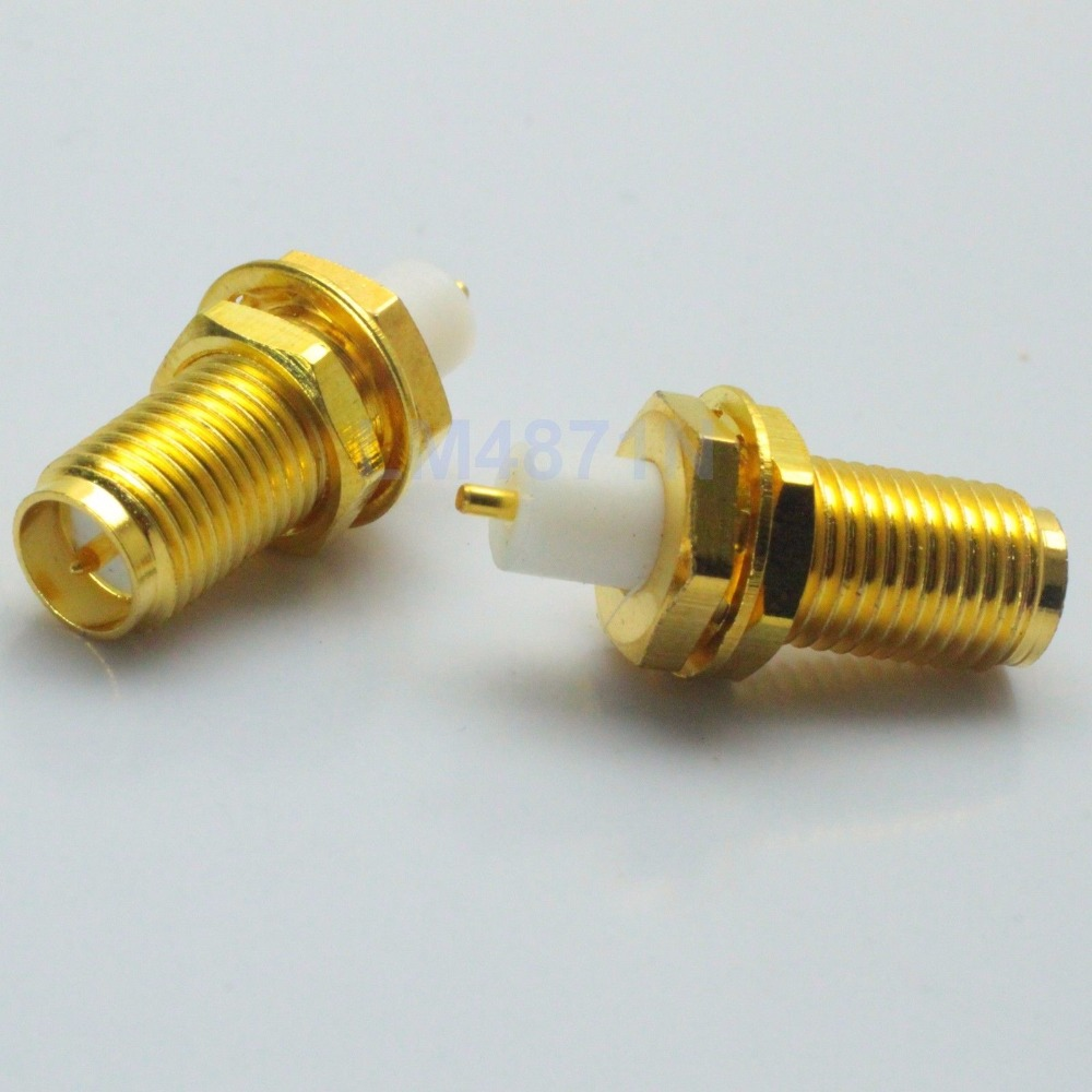 Connector RP*SMA Female Plug Bulkhead PTFE Solder Cup Deck Mount Straight F