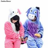Kids Pajamas Sets Winter Flannel Animal Donkey Cat Pajamas For Girls Boy Christmas Pyjamas For Kids