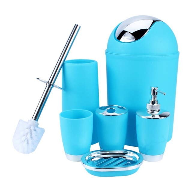 6 IN 1 Bathroom Toothbrush Holder Hand Sanitizer Bottle Soup Holder Toilet Brush Waste Bins Bathroom Accessories Set 6 Colors