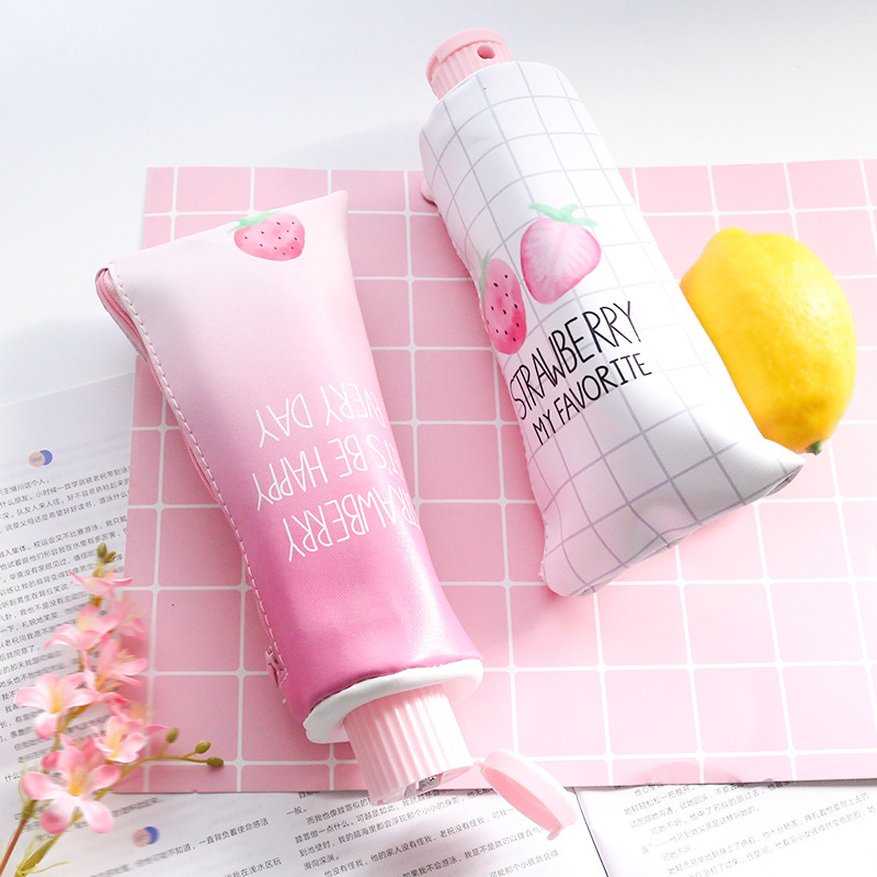 Creative Simple Pen Holder Storage Bag Crafts Desktop Pink Strawberry Storage Holder Kids Pencil Case With Pencil Sharpener Gift