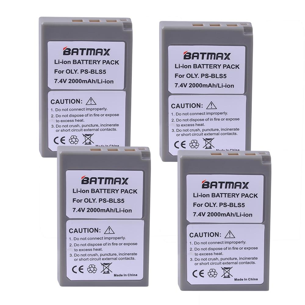 4PACK PS-BLS5 BLS-5 BLS5 BLS-50 BLS50 Batteries for Olympus PEN E-PL2,E-PL5,E-PL6,E-PL7,E-PM2, OM-D E-M10, E-M10 II, Stylus 1.
