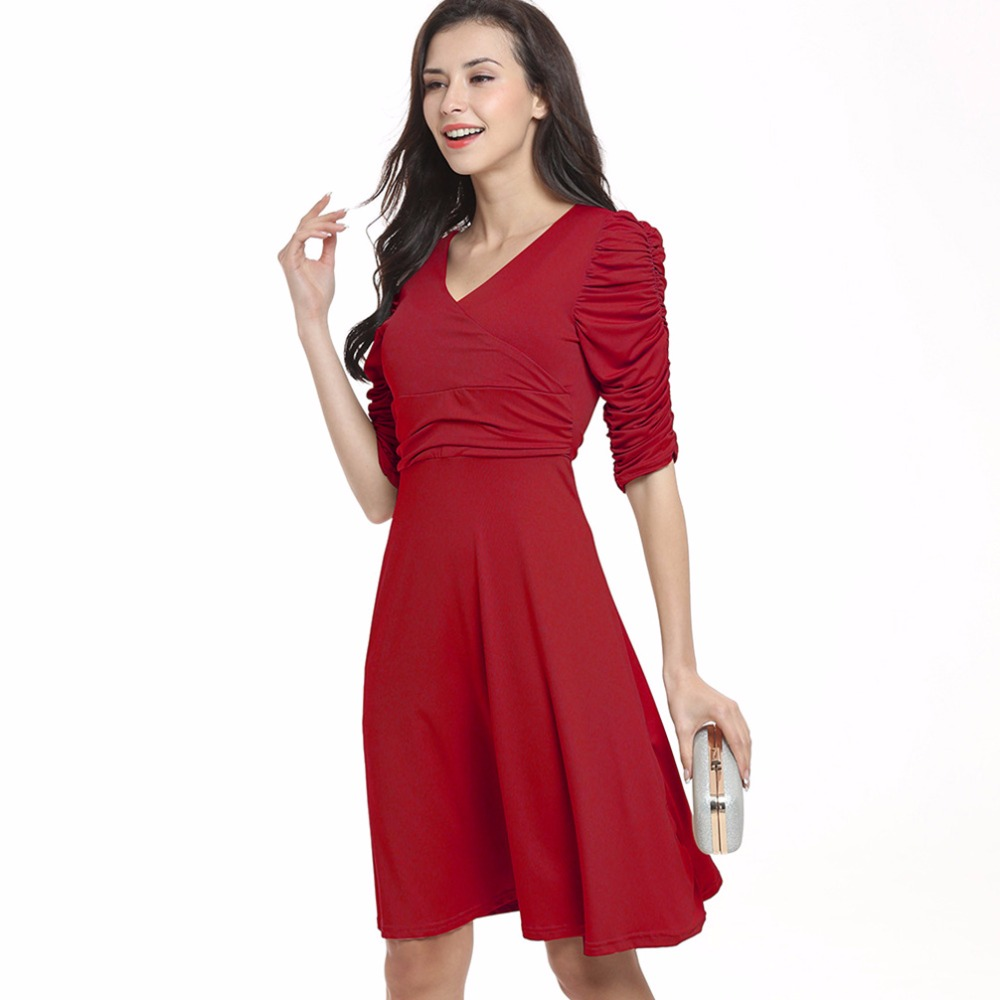 98ad272b8184 Womens Dress Deep V Sweet Scallop Pleated Skater Cute Slim Corrugated 2018  Sexy Casual Summer Party Dresses Brand fashion club - us638