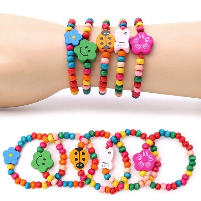 5 piezas adorables niños madera elástica cuentas pulseras cumpleaños fiesta joyería regalo
