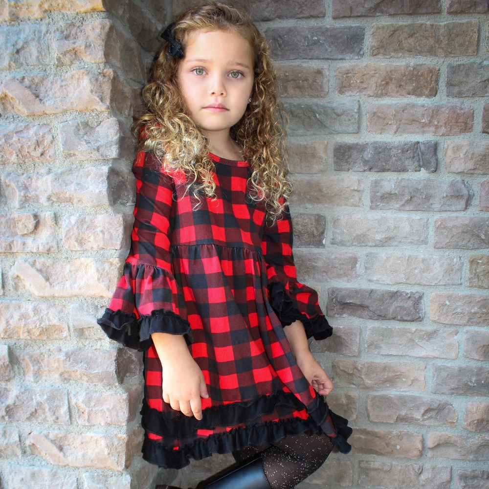 girls baby kids clothing cotton Spring Winter red black plaid ruffles dress boutique flare sleeve party princess matching bow 2018 casual boho short sleeve maxi dress square neck floral printed ruffles dress loose flare sleeve a line ruffles dresses