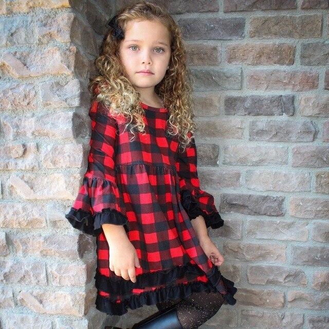 017cd59260c0 girls baby kids clothing cotton Spring Winter red black plaid ...